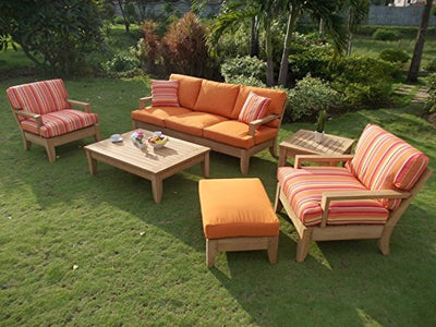 Luxurious 7 Piece 5 Seater Teak Sofa Set - 1 Sofa (3 Seater), 2 Lounge Chairs, 2 Ottoman, 1 Coffee Table & 1 Side Table -Furniture Set Only-Atnas Collection #WFSSAT6