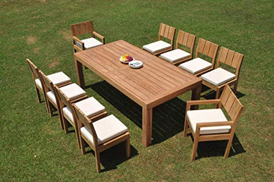 "TeakStation 10 Seater Grade-A Teak Wood 11 Pc Dining Set: 86"" Canberra Rectangle Table and 10 Veranda Chairs (2 Arm & 8 Armless Chairs) #TSDSVR33"