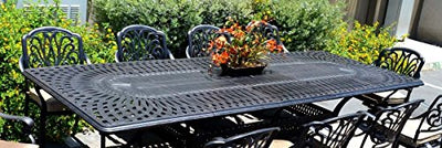 "Patio Furniture Dining 11pc Elisabeth Set Outdoor Cast Aluminum Extension Rectangle 48"" X 132"" Table"