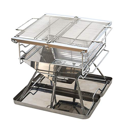 Vfdsvbdv Original Portable Folding Charcoal BBQ Grill Made from Stainless Steel (Size : One Size)