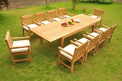 "11-pc Outdoor Teak Dining Set: 122"" Rectangle Extension Table & 10 Devon Arm Chairs"