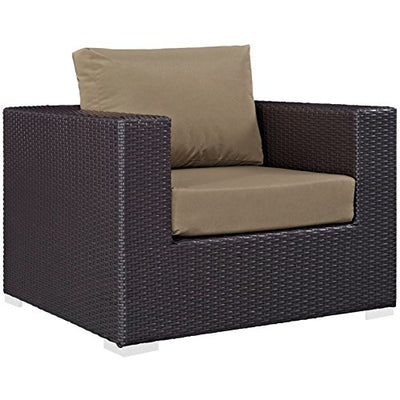 Modern Contemporary Urban Design Outdoor Patio Balcony Eight PCS Sofa Set, Brown, Rattan