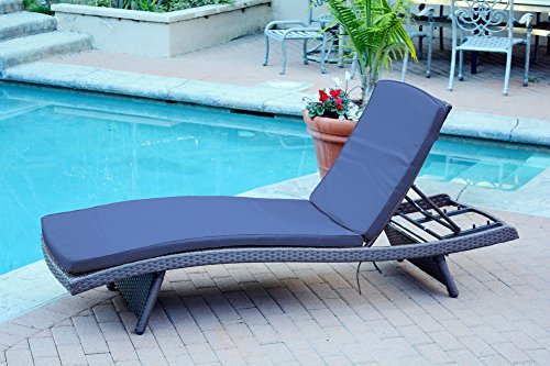 4 Adjustable Espresso Resin Wicker Outdoor Patio Chaise Lounge Chairs - Blue Cushions