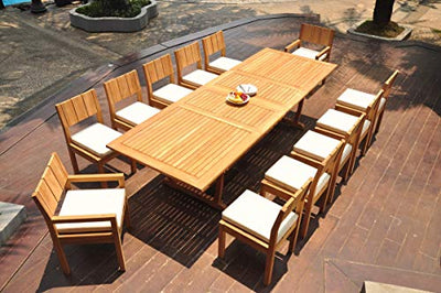 "TeakStation 12 Seater Grade-A Teak Wood 13 Pc Dining Set: 118"" Double Extension Mas Rectangle Trestle Leg Table and 12 Veranda Chairs (2 Arm & 10 Armless Chairs) #TSDSVR94"