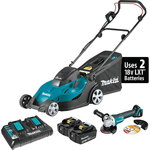 "Makita XML02PTX1 18V X2 (36V) LXT Lithium-Ion Cordless 17"" Lawn Mower Kit (5.0Ah) and Brushless Angle Grinder"