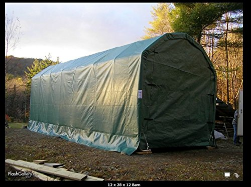 Portable Carports |Instant Garages | Vehicle Shelters (Barn Style 12'Wx28'Lx12'H) Green (Green)