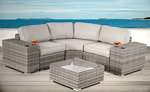 Living Source International Outdoor Furniture Patio Sofa Couch Garden, Backyard, Porch or Pool All-Weather Wicker with Thick Cushions [CM-1073] (6 Piece Round Curve, Verona Grey)