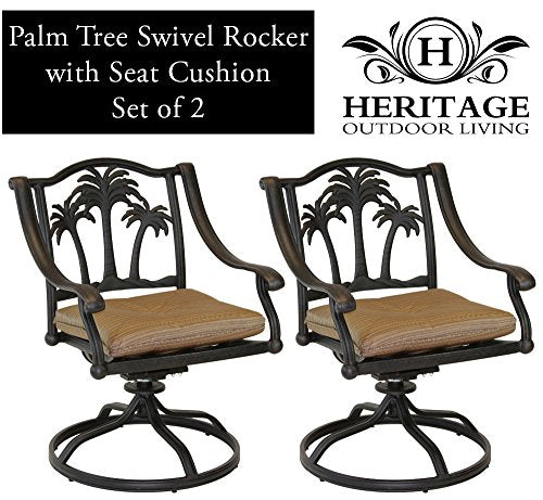 Heritage Outdoor Living Palm Tree Cast Aluminum Swivel Rocker - Set of 2 - Antique Bronze