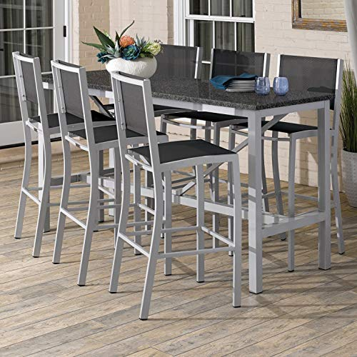 Oxford Garden Travira 7-Piece 72-in x 30-in Lite-Core Charcoal Bar Table & Sling Bar Chair Set - Black Sling
