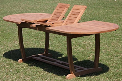 "TeakStation 10 Seater Grade-A Teak Wood 11 Pc Dining Set: 118"" Double Extension Mas Oval Trestle Leg Table and 10 Osborne Arm Chairs #31OS1711"