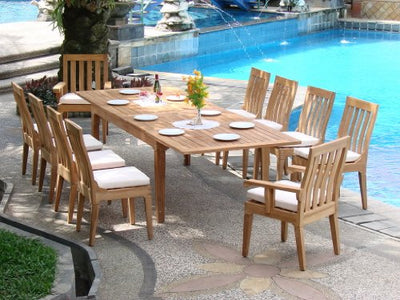 "Grade-A Teak Wood Luxurious Dining Set Collections: 13 pc - 122"" Caranasas Rectangle (Double Extension) Table, 10 Armless and 2 Arm Caranasas Chairs #TSDSCR3"