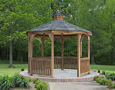 Fifthroom Markets Garden Gazebo Octagon 12 Foot - Red Cedar Wood Outdoor Furniture Backyard Seating Wooden Exterior Structure Home and Garden C1212