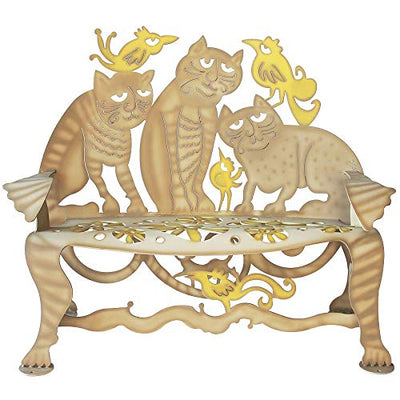 Cricket Forge Cat Bench (Tan & Yellow) Outdoor/Indoor - Steel