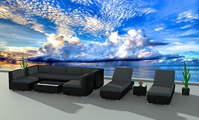Urban Furnishing.net - Black Series 10a Modern Outdoor Backyard Wicker Rattan Patio Furniture Sofa Sectional Couch Set