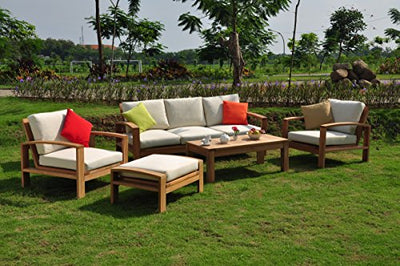 New Luxurious 6 Piece Teak Sofa Set - 3 Seater Sofa, 2 Lounge Chairs, 1 Ottoman, 1 Coffee Table And 1 End Table - Furniture only - Madras COLLECTION #WHSSMD