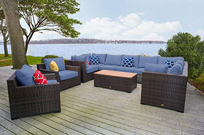 Vida Outdoor VD-PACIFIC-4CS4AS2CC1CT-DENIM Pacific 11 Piece Wicker Sectional Set-Denim Chair