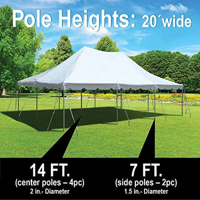 20-Foot by 30-Foot Red and White Pole Tent, Commercial Canopy Heavy Duty 16-Ounce Vinyl for Parties, Weddings, and Events