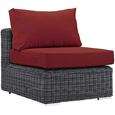 Modern Contemporary Outdoor Patio Lounge Sectional Sofa Set, Sunbrella Rattan Wicker, Grey Red