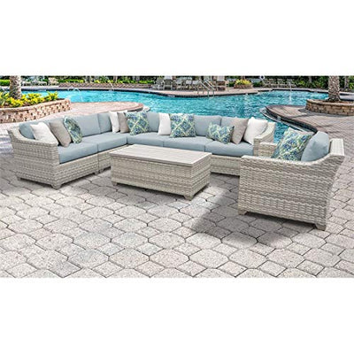 TK Classics Fairmont 8 Piece Outdoor Wicker Patio Furniture Set 08d in Spa