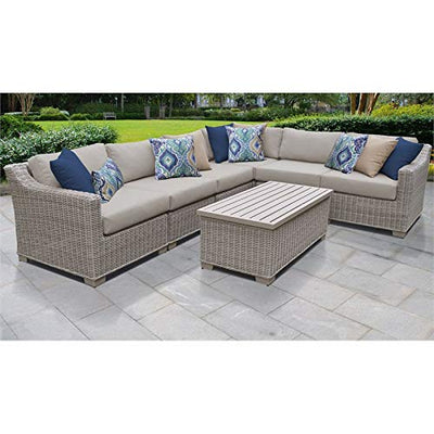 TK Classics Coast 7 Piece Outdoor Wicker Patio Furniture Set 07b