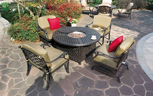 "Heritage Outdoor Living Nassau Cast Aluminum 5pc Outdoor Patio Club Chair Set with 52"" Round Ice Chest Table - Antique Bronze"
