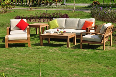 Madras 6 Piece Teak Lounge Sofa Set - 3 Seater Sofa, 2 Lounge Chairs, 1 Ottoman, 1 Coffee Table And 1 End Table - Furniture only #TSSSMD