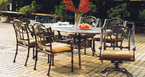 Heritage Outdoor Living Palm Tree Cast Aluminum 7pc Dining Set w/ 42?x 87? Oval Table - Antique Bronze