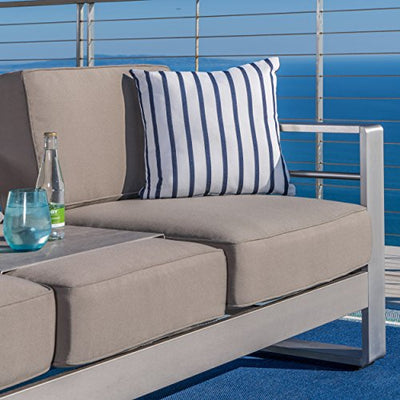 Great DeaL Furniture 298343 Crested Bay Outdoor Aluminum 5-Piece Sofa Set with Khaki Cushions,
