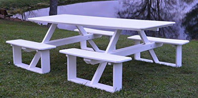 A&L Furniture 8' Amish-Made Rectangular Poly Walk-in Picnic Table with Umbrella Hole, Orange