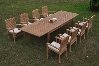 "8 Seats 9 Pcs Grade-A Teak Wood Dining Set: 122"" Atnas Double Extension Rectangle Table and 8 Wave Stacking Arm Chairs #WHDSWave28"