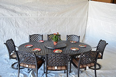 Nassau Outdoor Patio 10pc Set Large Oval Dining Table Dark Bronze Cast Aluminum, Walnut Cushions