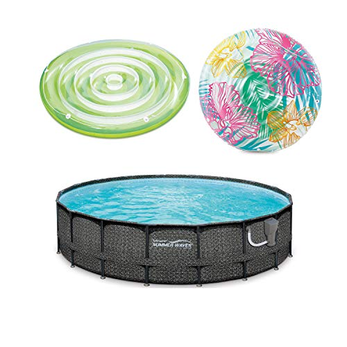 Summer Waves 20 Foot x 24 Inch Pool with Splash Island and Hibiscus Pool Float