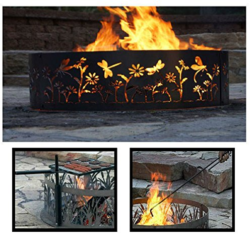PD Metals Steel Campfire Fire Ring Dragonfly Design - Unpainted - with Fire Poker and Cooking Grill - Extra Large 60 d x 12 h Plus Free eGuide