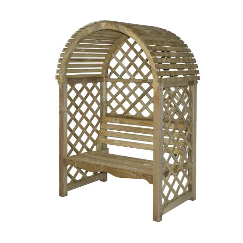 Bosmere Rowlinson Victoria Arbor with Seat and Lattice Back/Sides, Natural Finish