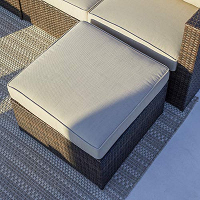 Supernova Outdoor Furniture 12 Pieces Garden Patio Sofa Set | Wicker Rattan Sectional Sofa | Fully Assembled | Aluminum Frame | Brown
