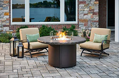 The Outdoor GreatRoom Company Marbleized Noche Beacon Chat Height Gas Fire Pit Table and Chat Rocking Chair Set