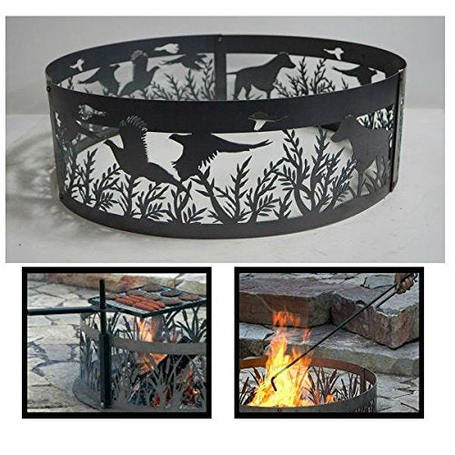 PD Metals Steel Campfire Fire Ring Dog N' Pheasants Design - Unpainted - with Fire Poker and Cooking Grill - Extra Large 60 d x 12 h Plus Free eGuide