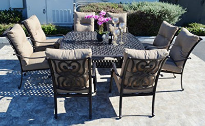 "Santa Anita Cast Aluminum Powder Coated 9pc Outdoor Patio Dining Set Sunbrella with 64"" Square Table - Antique Bronze"