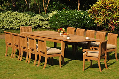 "TeakStation 12 Seater 13 Pc Grade-A Teak Wood Dining Set: Large Atnas 122"" Dining Rectangle Table Table, 2 Arm and 10 Giva Armless Chairs #TSDSGV57"