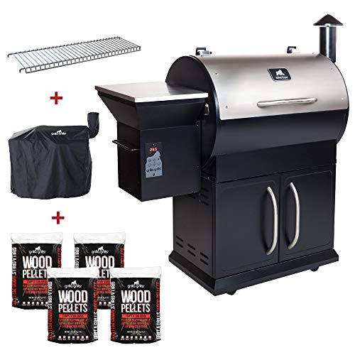 Grilla Grills - Silverbac Alpha Model Bundle | Multi Purpose Smoker and BBQ Wood Pellet Grill with Dual Mode PID Controller | Stainless Steel Construction | Up to 900 Sq. in Cooking Space