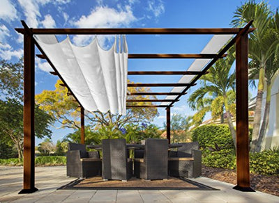 Paragon Outdoor PR11WD2W Backyard Structure Soft Top with Chilean Ipe Frame Valencia Pergola, 11' x 11' Off White