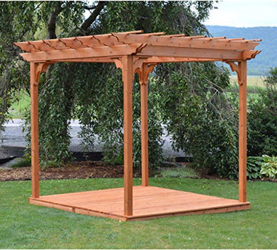 A & L Furniture Co. Western Red Cedar 8'x8' Pergola w/Deck & Swing Hangers - Ships Free in 5-7 Business Days