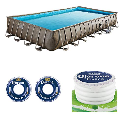 Summer Waves 32ft x 16ft x 52in Pool + Corona Floats + Corona Floating Cooler