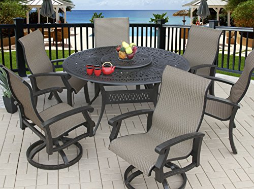 "Heritage Outdoor Living Cast Aluminum Barbados Sling Outdoor Patio 7pc Dining Set with 60"" Round Table - (4) Dining Chairs & (2) Swivel Rockers - Antique Bronze Finish"