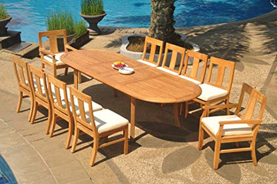 "11-pc Outdoor Teak Dining Set: 117"" Oval Extension Table, 2 Arms & 8 Armless Osbo Chairs"