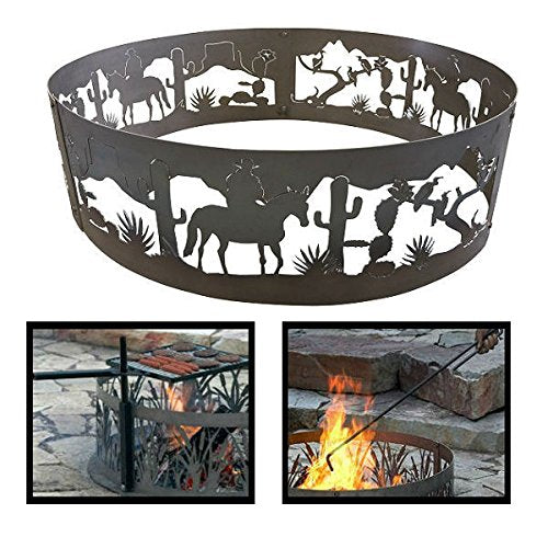 PD Metals Steel Campfire Fire Ring Southwest Design - Unpainted - with Fire Poker and Cooking Grill - Extra Large 60 d x 12 h Plus Free eGuide