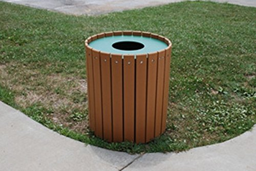 "Jayhawk Plastics Gallon Outdoor Trashcan Made With Twenty-Four 1"" X 4"" Recycled Plastic Slats 55 Gallon - Weighs 75 Lbs - Cedar"