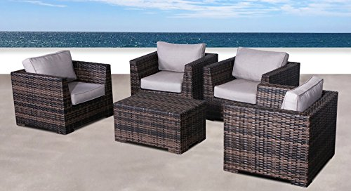 Fully Assembled Patio Couch |Cabana Collection Outdoor Wicker Patio Furniture Sectional Conversation Sofa Set for Backyard, Porch or Pool | No Assembly Required (5 Piece Club Coffee Table Set, Brown)
