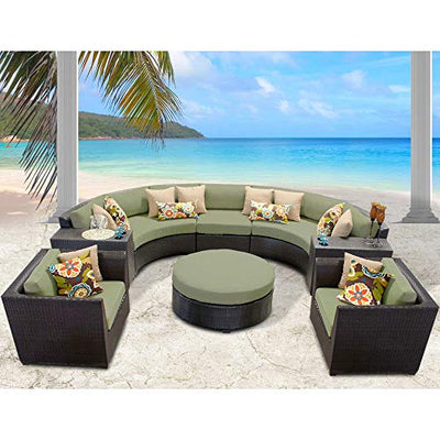 Delacora BARBADOS-08e-CILANTRO Caribbean 8-Piece Aluminum Framed Outdoor Conversation Set with Cup Tables, Round Coffee Table, and Club Chairs