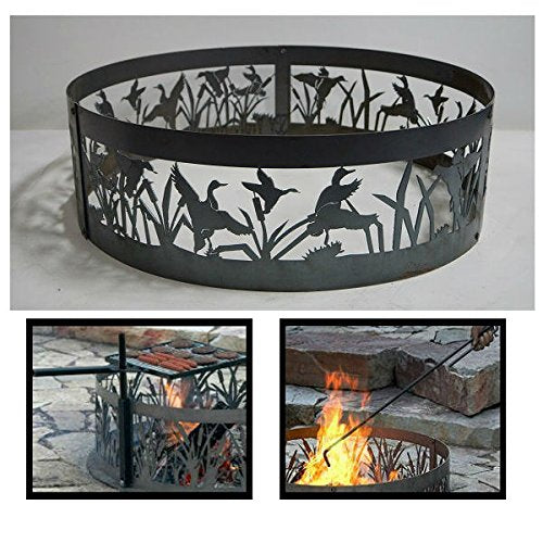 PD Metals Steel Campfire Fire Ring Flying Ducks Design - Unpainted - with Fire Poker and Cooking Grill - Extra Large 60 d x 12 h Plus Free eGuide